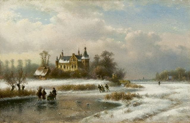 Lodewijk Johannes Kleijn | A frozen waterway with skaters by a castle, oil on panel, 33.5 x 52.1 cm, signed l.l.