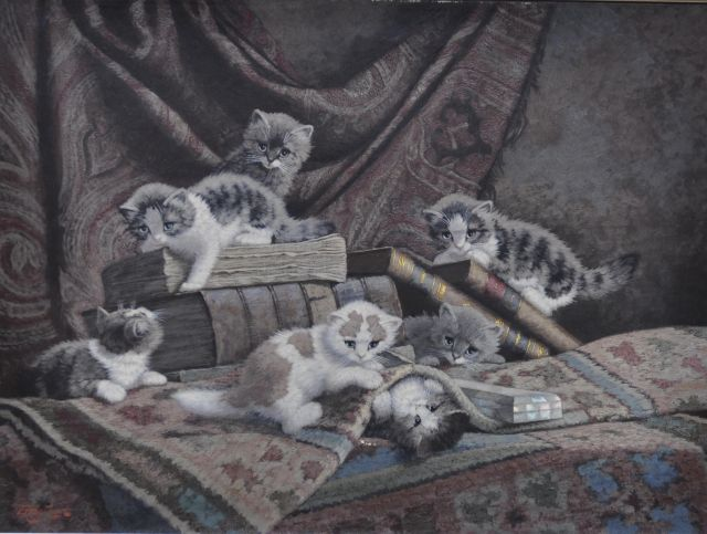 Cornelis Raaphorst | Six kittens playing, oil on canvas, 60.0 x 80.0 cm, signed l.l.