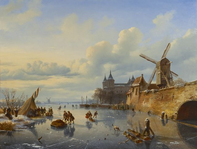 Cornelis Lieste | Skaters near a Dutch town, oil on panel, 71.1 x 93.5 cm, signed l.r. and dated 1843