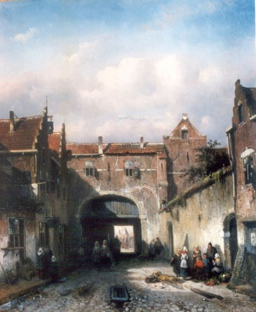 Charles Leickert | Activities by the city gate, oil on panel, 33.0 x 28.2 cm, signed l.r.