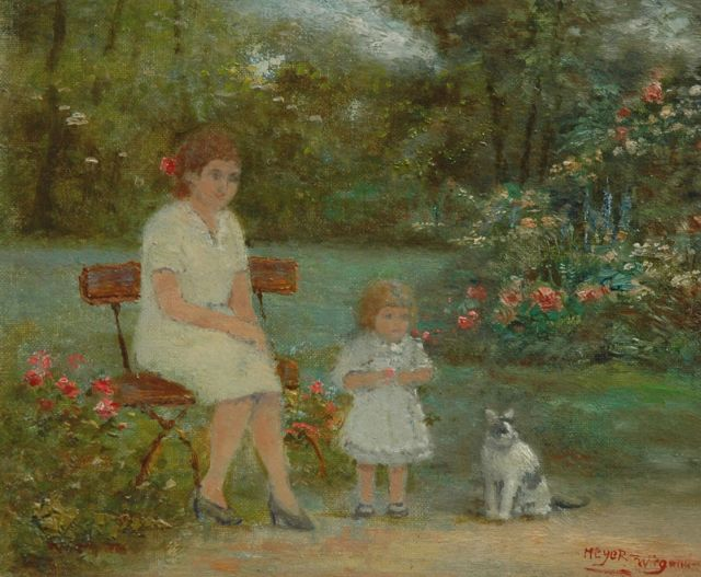 Rolf Dieter Meyer-Wiegand | In the garden, oil on canvas laid down on panel, 13.4 x 15.9 cm, signed l.r.