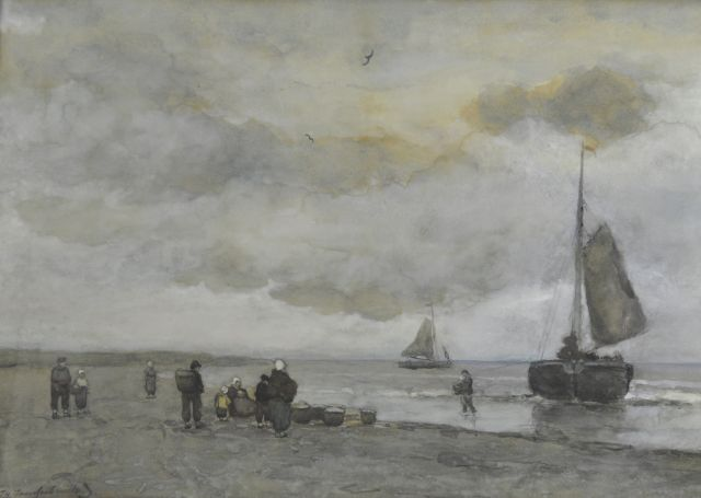 Jan Hendrik Weissenbruch | Beach Scene, watercolour on paper, 21.2 x 58.4 cm, signed l.l. and painted ca. 1895