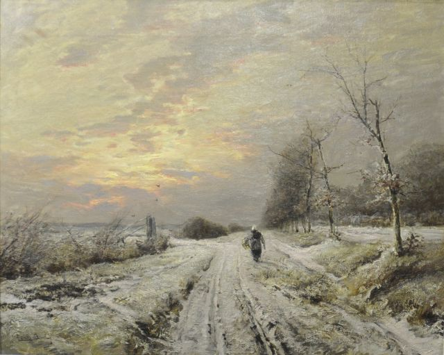 Louis Apol | Winterlandscape with a farmer's wife on a path, oil on canvas, 64.3 x 80.2 cm, signed l.l.