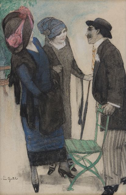 Leo Gestel | Conversation in the park, charcoal and pastel on paper, 50.1 x 33.4 cm, signed l.l. and executed ca. 1910