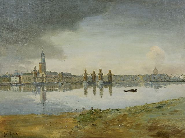 Boele J.  | A view of Kampen with the old bridge over the river IJssel, oil on canvas 60.3 x 80.2 cm, signed l.l.