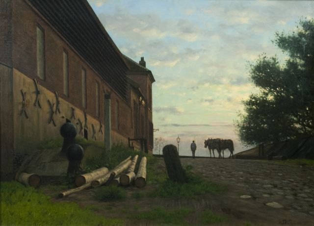 Willem Jan Willemsen | Workman and his horses on the Rijnkade, Arnhem, oil on canvas, 50.5 x 69.9 cm, signed l.r.
