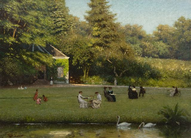 Willem Jan Willemsen | Drinking tea in Park Sonsbeek, Arnhem, oil on canvas, 50.5 x 69.5 cm, signed l.l.