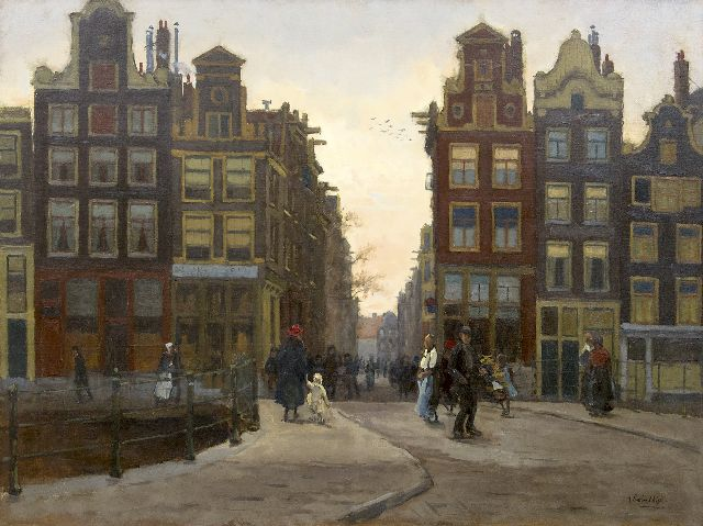 Felicien Bobeldijk | A view on the Wijde Heisteeg, Amsterdam, at dusk, oil on canvas, 60.2 x 80.2 cm, signed l.r.