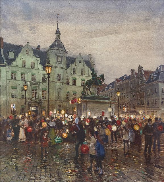 Heinrich Hermanns | Saint Martin procession in front of the Düsseldorf town hall, watercolour on paper, 58.2 x 52.3 cm, signed l.l. and dated '05