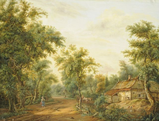 Pieter Barbiers Bzn | A wooded landscape with a farm and landfolk, oil on canvas, 51.8 x 66.4 cm