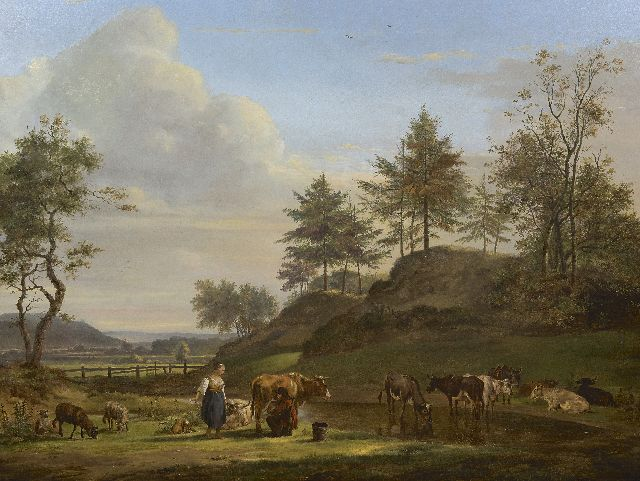 Pieter Gerardus van Os | A Dutch Arcadian landscape with shepherds and cattle, oil on panel, 63.1 x 83.2 cm, signed l.l. and dated 1815