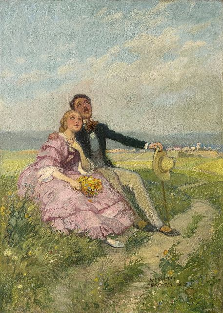 Richard Mauch | Romantic Sunday afternoon, oil on canvas, 50.8 x 36.5 cm, signed l.r. and dated 'München 1919'