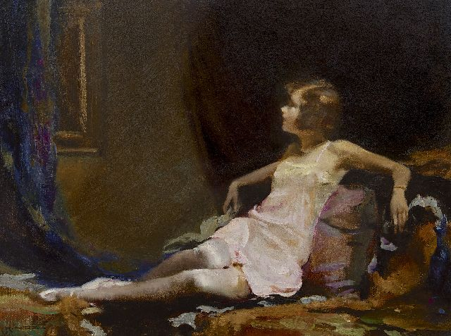 Rudolf Nissl | Resting girl (in pink underdress), oil on canvas, 51.1 x 66.9 cm, signed l.l.