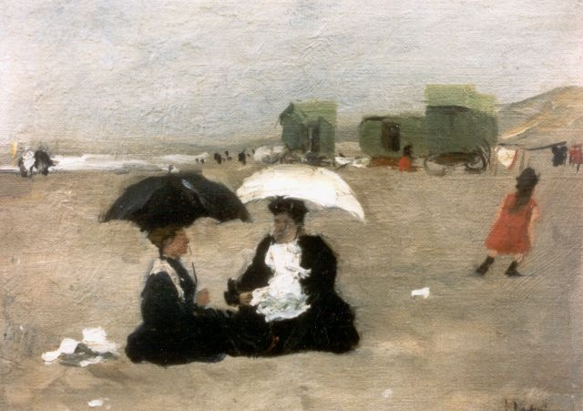 Floris Arntzenius | Elegant ladies at the beach, 1907, oil on canvas laid down on panel, 21.3 x 28.7 cm, signed l.r.