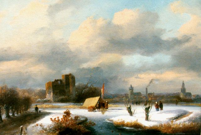 Johannes Petrus van Velzen | Skaters on a frozen waterway, oil on panel, 18.0 x 22.2 cm, signed l.r.