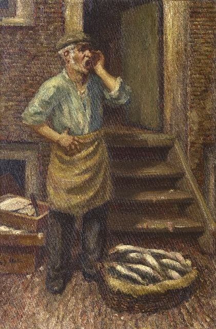 Gerard Johan Staller | A fish seller, Amsterdam, oil on canvas, 45.2 x 30.2 cm, signed l.l.