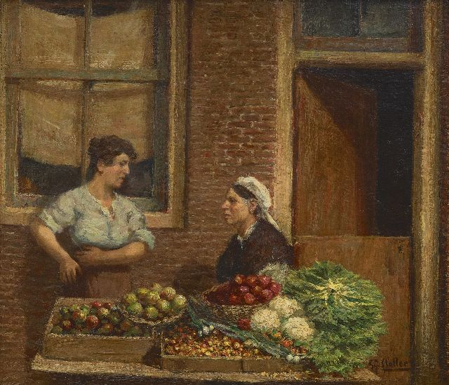 Gerard Johan Staller | Vegetable sellers at the market, Amsterdam, oil on panel, 18.8 x 21.9 cm, signed l.r.