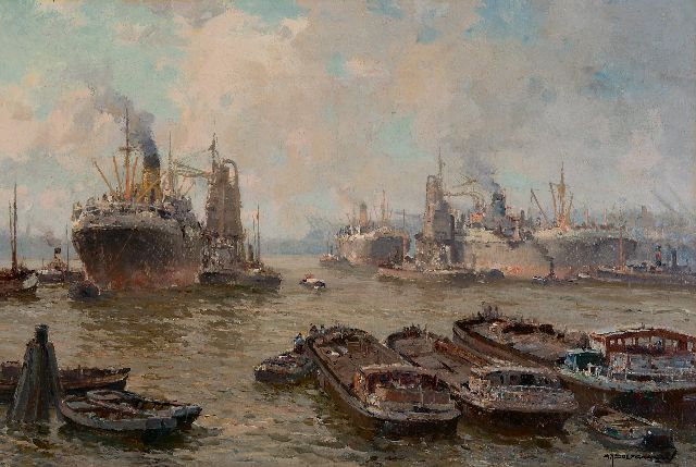 Gerard Delfgaauw | The Waalhaven, Rotterdam, oil on canvas, 40.2 x 60.5 cm, signed l.r.