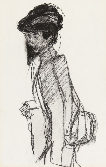 Israels I.L.  | A lady with a hat, charcoal on paper, 42.0 x 27.0 cm