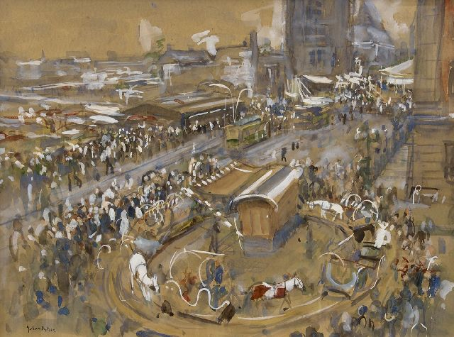 Dijkstra J.  | Fair near the Martini tower, Groningen, watercolour on paper 48.5 x 65.8 cm, signed l.l. and painted ca. 1945-1955