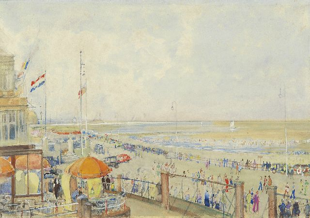 Bakker F.  | Summer in Scheveningen, watercolour on paper 24.0 x 34.1 cm, signed l.r. and dated '34
