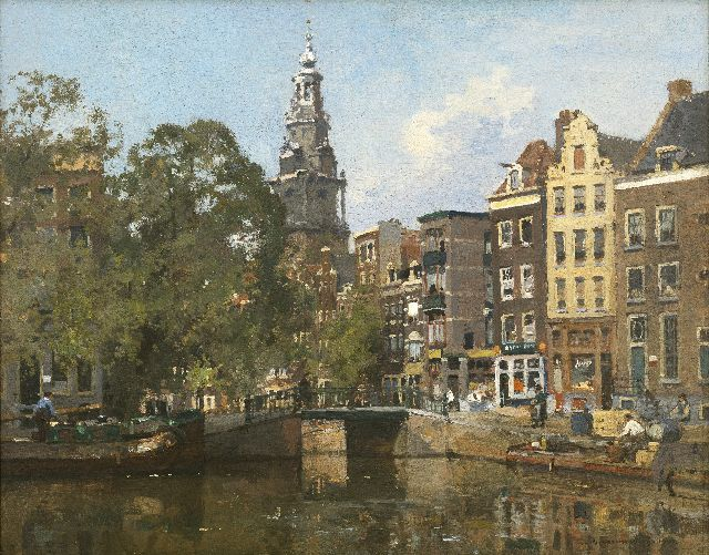 Cornelis Vreedenburgh | A view of the Raamgracht and the Zuiderkerktoren in Amsterdam, oil on panel, 40.8 x 50.5 cm, signed l.r. and dated 1930