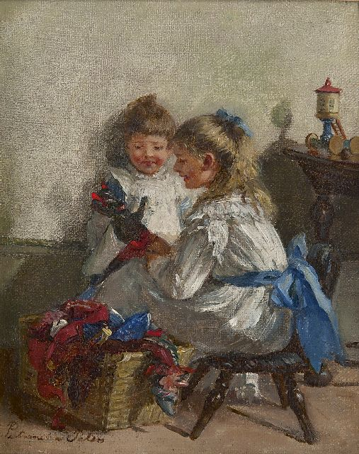 Pietronella Peters | Playing with the dolls, oil on canvas laid down on painter's board, 19.8 x 26.1 cm, signed l.l.