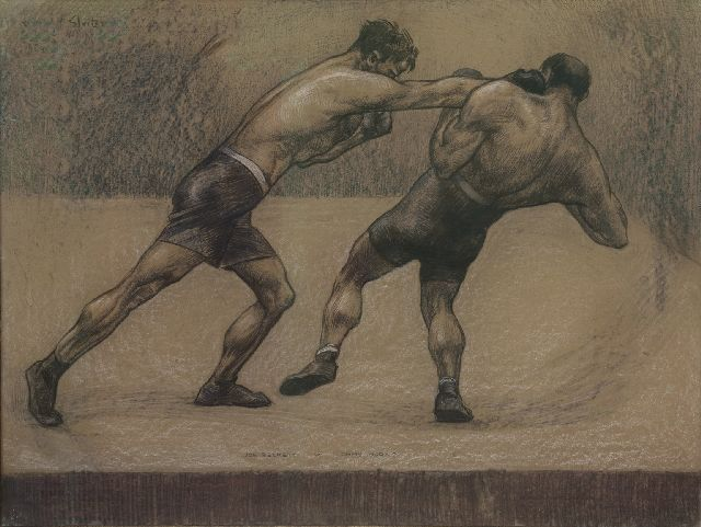 Sluiter J.W.  | Joe Beckett's fight against Tommy Burns, London 1920, charcoal and pastel on paper laid down on cardboard 74.3 x 99.0 cm, signed c.r. and dated 'London 1920'