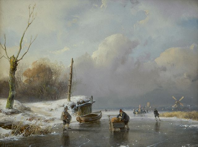 Andreas Schelfhout | Skaters and sledge on a frozen river, oil on panel, 14.6 x 18.8 cm, signed l.l. and dated '48