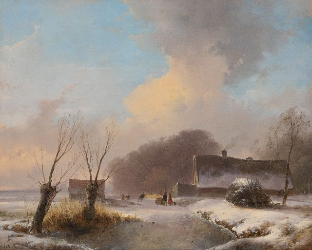 Schelfhout A.  | A skater and figures on a frozen waterway, oil on panel 29.7 x 36.7 cm, signed l.l. and painted ca. 1833