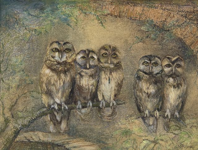 Johanna Pieneman | Owls on a branch, pastel on paper, 48.2 x 63.0 cm, signed l.r.
