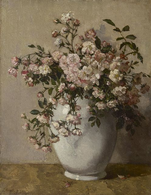 Johannes Evert Hendrik Akkeringa | A white vase with spray roses, oil on canvas, 54.1 x 42.1 cm, signed l.l.