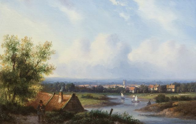 Carl Eduard Ahrendts | A river landscape in summer, oil on panel, 14.3 x 21.5 cm, signed l.r.