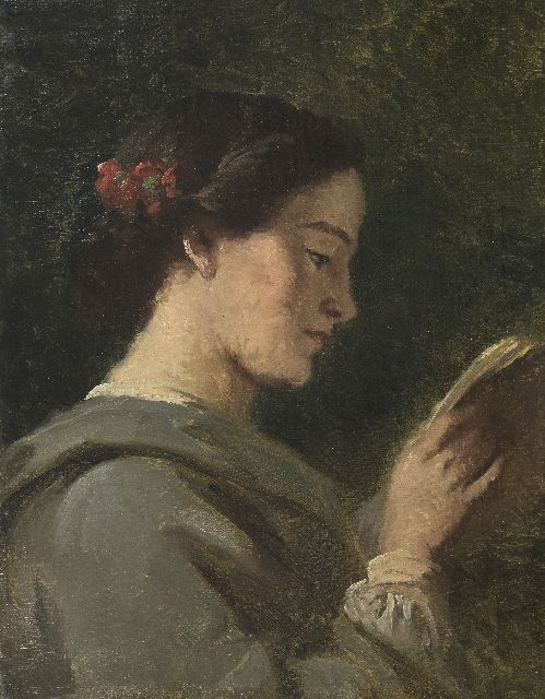 Piet van Wijngaerdt | A young woman reading, oil on canvas, 53.6 x 41.7 cm