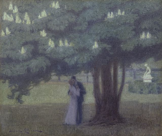 Alleaume L.  | Under the chestnut tree, oil on canvas 46.0 x 55.0 cm, signed l.l.