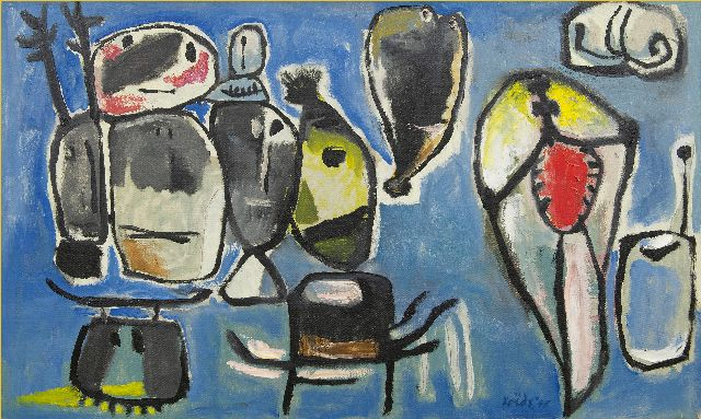 Roëde J.  | Abstract figures, oil on canvas 60.6 x 99.6 cm, signed l.r. and dated '48