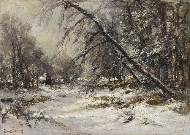 Louis Apol | A forest path in winter, oil on canvas, 50.1 x 70.3 cm, signed l.l.