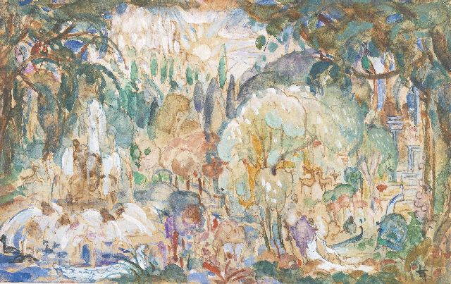 Leo Gestel | Paradise, watercolour and gouache on paper, 8.9 x 14.1 cm, signed l.r. with monogram