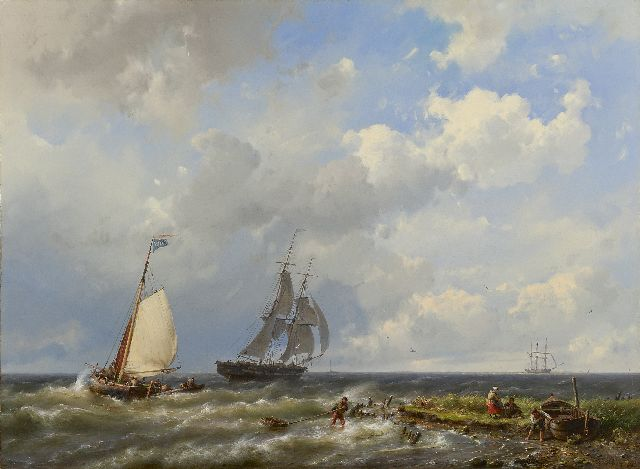 Hermanus Koekkoek | Sailing vessels near the coast, oil on canvas, 55.6 x 75.4 cm, signed l.r. and dated 1858