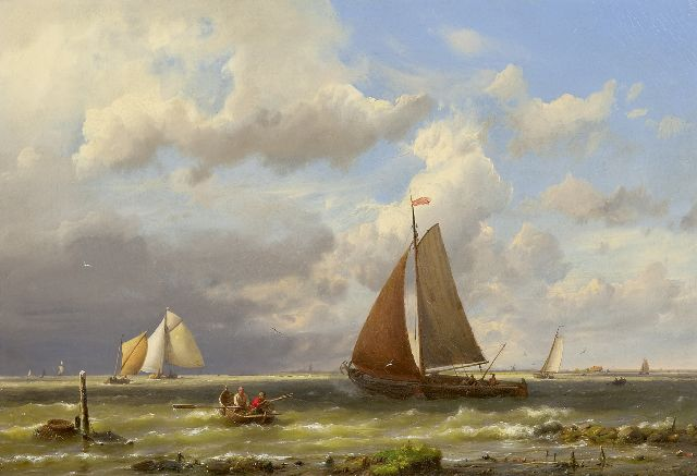 Koekkoek H.  | Ships on a choppy sea, oil on canvas 33.2 x 48.2 cm, signed l.r. and dated '62