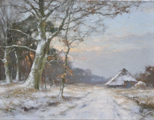 Jan Holtrup | A winter landscape in The Achterhoek, oil on canvas, 35.3 x 45.2 cm, signed l.l.