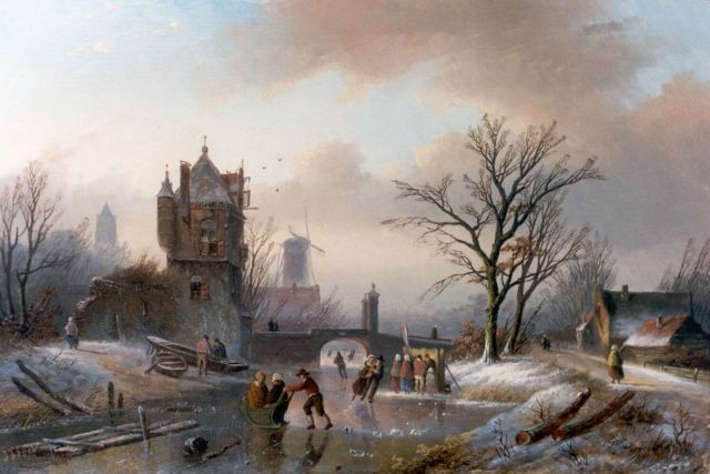Jan Jacob Spohler | Skaters on a frozen waterway by a ruin, oil on panel, 22.3 x 33.5 cm, signed l.l.