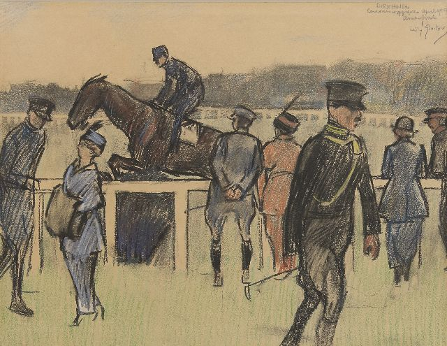 Willy Sluiter | Concours Hippique op Birkhoven, coloured chalk on paper, 27.2 x 36.0 cm, signed u.r. and dated 'april 1910 Amersfoort'