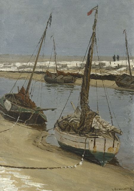 Berkemeier L.G.J.  | Fishing boats on the 'Uitwatering' in Katwijk aan Zee at low tide, oil on panel 35.5 x 25.1 cm, signed l.r.