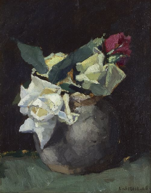 Beever E.S. van | Roses, oil on panel 24.0 x 18.7 cm, signed l.r.