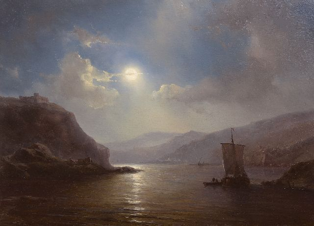 Louis Meijer | A moonlit river landscape with a sailing ship, oil on panel, 30.0 x 41.4 cm, signed l.r.