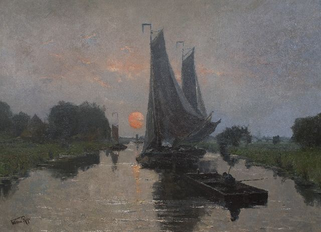 Willem Rip | Ships sailing at sunset, oil on canvas, 140.0 x 190.2 cm, signed l.l.