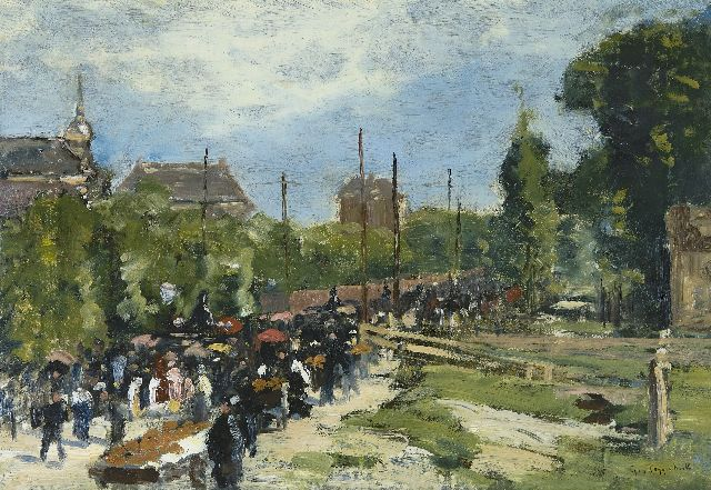 Geo Poggenbeek | Procession in Amsterdam, oil on canvas, 33.9 x 48.2 cm, signed l.r.