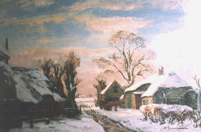 David Schulman | A winter landscape, Laren, oil on canvas, 56.0 x 84.0 cm, signed l.r.