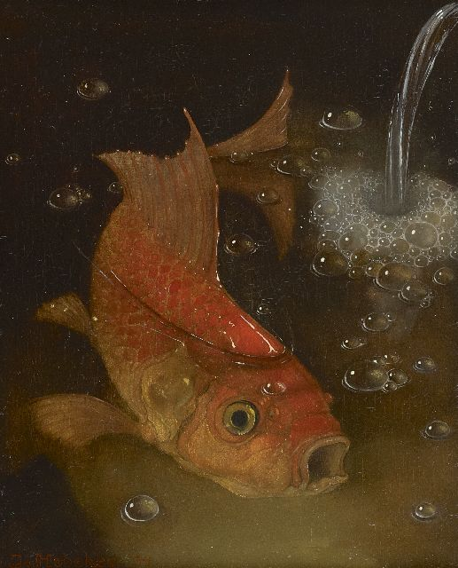Jemmy van Hoboken | Goldfish, oil on panel, 27.0 x 22.1 cm, signed l.l. and dated '34